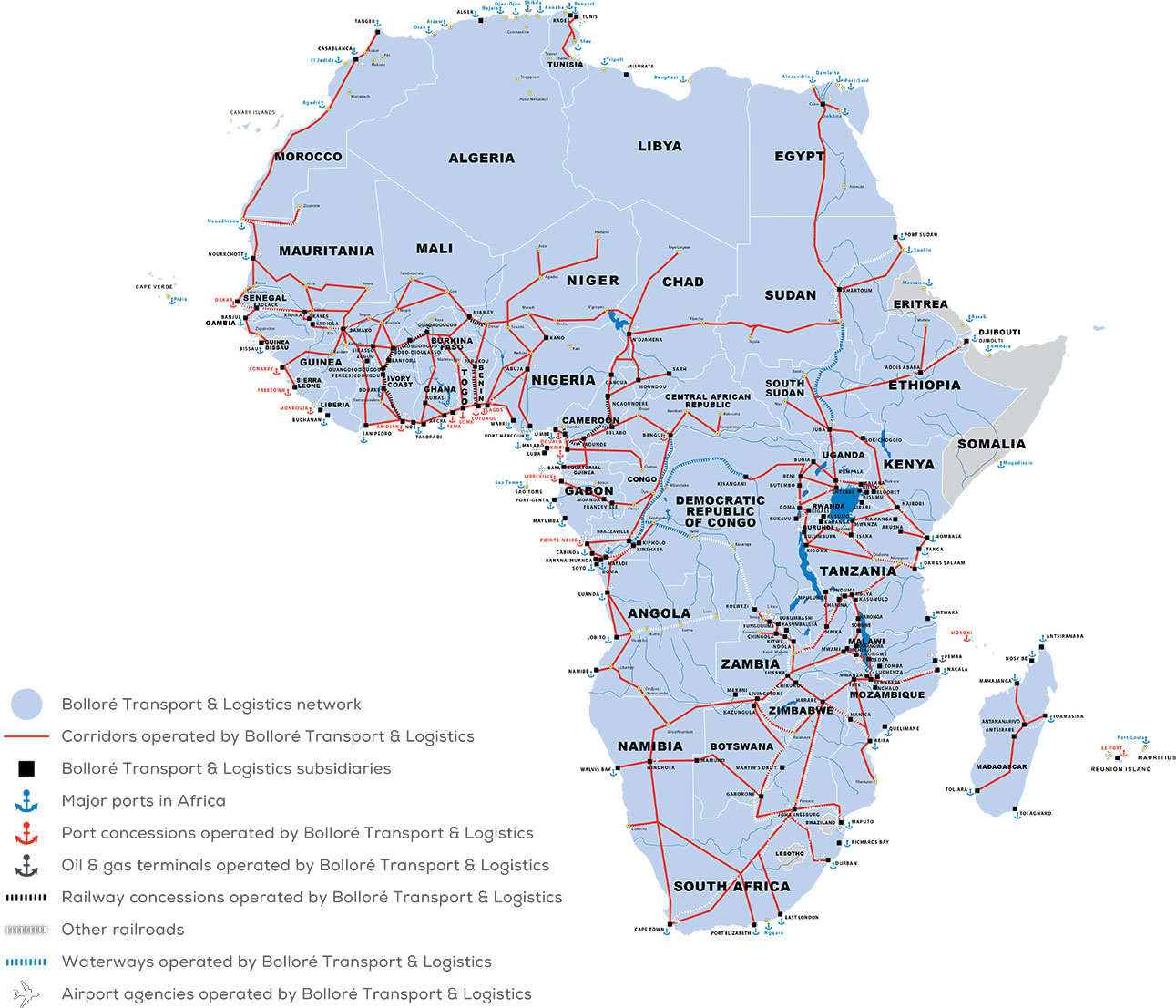 africa map and ports